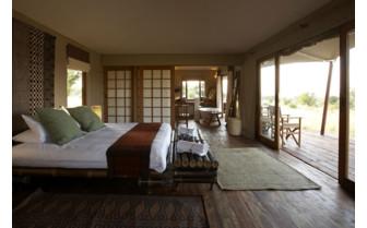 Interior of luxury tent at Sayari Camp