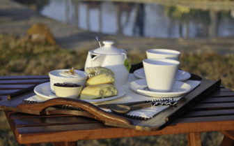 Coffee and pastries at the lodges exterior