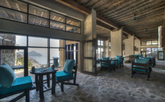 The restaurant at Six Senses Zighy Bay, luxury hotel in Oman