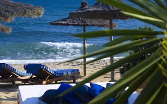 The beach at Marbella Club, luxury hotel in Spain