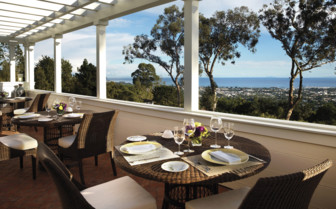 Dining on the terrace at El Encanto, luxury hotel in Big Sur