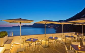 The bar terrace overlooking the ocean