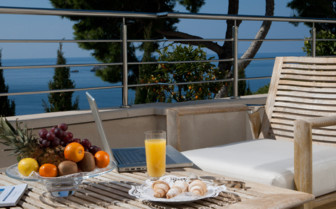 Breakfast on the suite terrace at the hotel