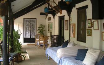 The verandah at Ahilya Fort, luxury hotel in India