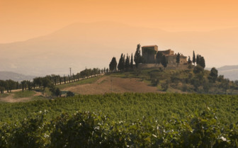 Sunrise over the hills in Tuscany