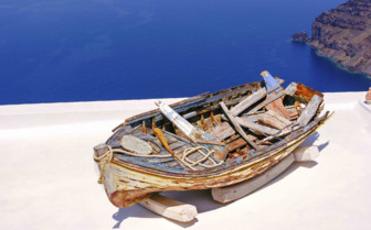 The Wreckage of a Wooden Boat