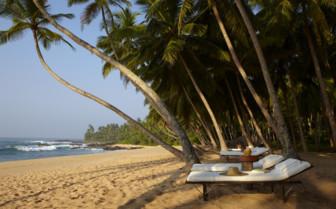 Beach loungers at Amanwella hotel