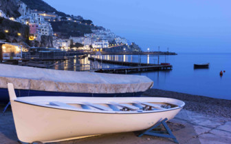 Boat at sunset in Amalfi