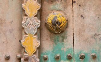 A Peeling Painted Wooden Door in Oman