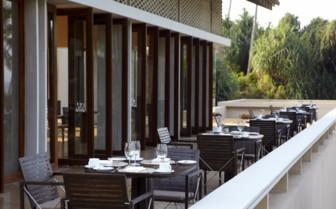 The restaurant terrace at Amanwella, luxury hotel in Sri Lanka