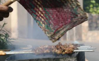 Meat Grilling at a Street Stall