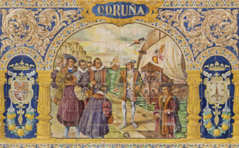 A Tiled Coruna Sign at Plaza de Espana