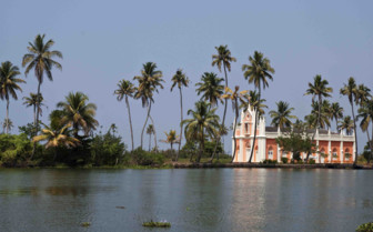 Church on the banks of the backwaters