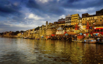 The Ganges with houses