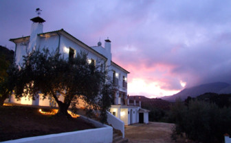 The Exterior of Casa Olea at Dusk