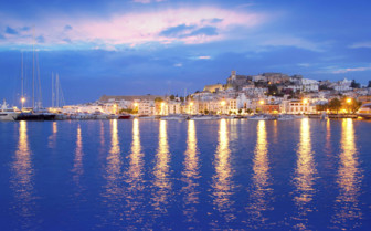 Evening Lights over the Water in Ibiza