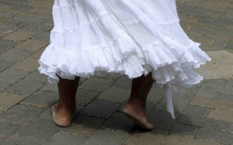 The feet of a dancing woman