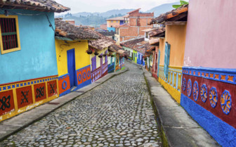 Cobbled and colourful street