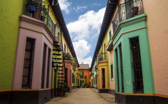 Coloured houses in a street