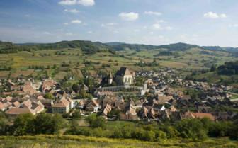 Aerial view of Transylvanian village