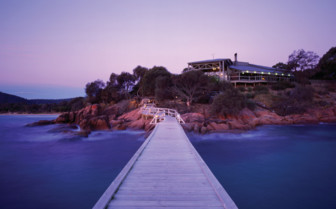 Freycinet Lodge from the Wharf at Night