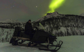 The Northern Lights Seen from a Snowmobile