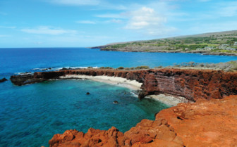 The coast at Four Seasons Lana'i Manele Bay, luxury hotel in Hawaii