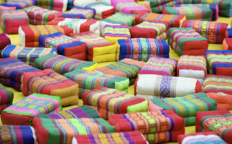 Brightly Coloured Prayer Cushions