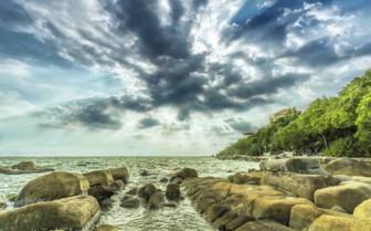 Rocks and Moody Sky