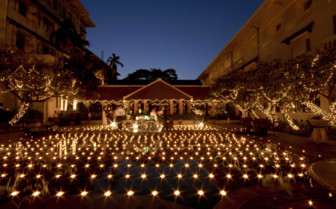 Candles in Front of Raffles Hotel Le Royal