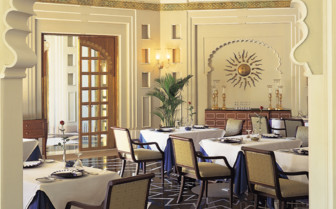 The restaurant at Oberoi Udaivilas, luxury hotel in India