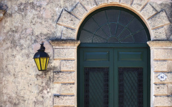 A Doorway and Lamp in Uruguay