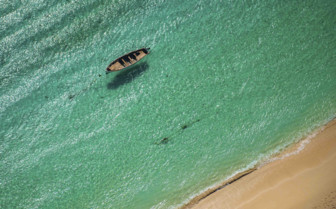 Aerial view of Boat in Water
