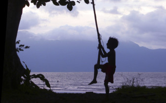 Child Playing on a Rope Swing