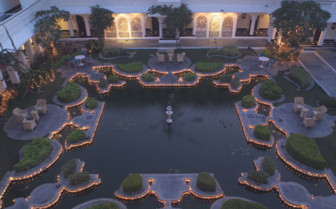 The courtyard at Taj Lake Palace, luxury hotel in India