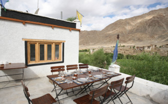 The terrace at Village Houses, luxury hotel in India