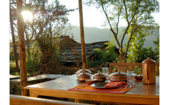 Outdoor dining a the village houses