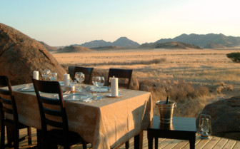 Dining on the terrace at Wolwedans Boulders