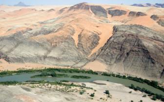 Aerial view of the landscape at Schoeneman Skeleton Coast Flying Safaris