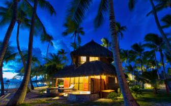 Kia Ora Hotel beach suite at night