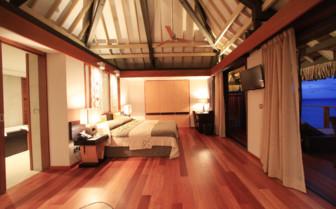 Over water bungalow bedroom