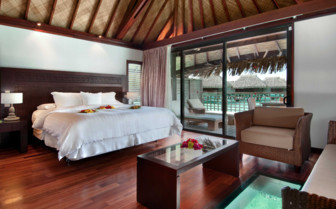 Over water bungalow bedroom