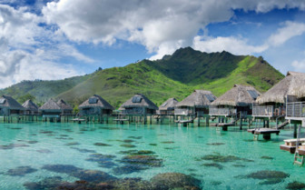 Panoramic view of over water bungalows at the Hilton Moorea