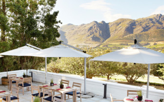 Outdoor dining at Mont Rochelle