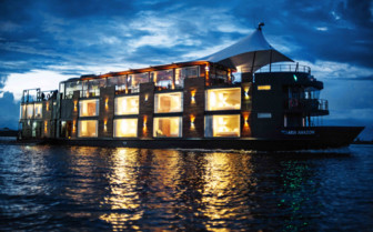 Aria Amazon on the river at night