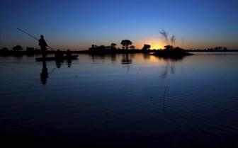 Night view of the Zambezi river