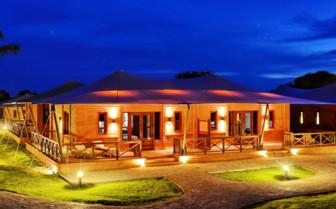 Bagan Lodge exterior evening view