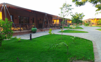 Lodge exterior and grass area