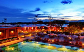 Bagan Lodge and pool at night