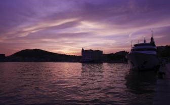 Pink sunset skies in Dalmatia